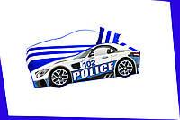 Кровать машина с матрасом Мерседес полиция белый