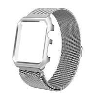 Наручный браслет из нержавеющей стали+металлическая рамка для iWatch 42-мм серии 3 2 1 Серебристый