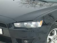 Реснички на фары Mitsubishi Lancer X (стекловолокно)