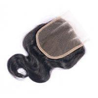 100% человеческие волосы Дева бразильское швейцарское кружевное закрытие с волосами для волос Естественная цветовая волна тела Отбеливаемые узлы