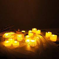 24PCS Реалистичные беспламенные витиеватые свечи с батареей Жёлтый цвет слоновой