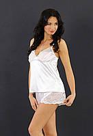 Ночная белая пижама атлас + кружево-стрейч