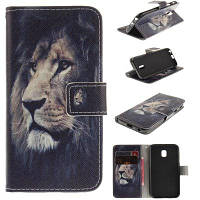 Lion Pattern PU+TPU кожаный дизайн корпуса с подставкой и слотами для карт Магнитное закрытие для Samsung Galaxy J7 2017 J730 EU Version Чёрный
