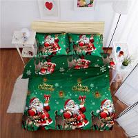 С Рождеством Христовым Санта-Клаус Одеяло Обложка Подушка случае 4PCS 3D печатных постельных комплектов королева