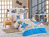 Комплект постельного белья  Hobby поплин размер полуторный Skateboard синий