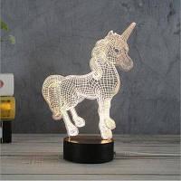 3D Ночник в форме единорога творческий акриловый 3D светодиодная настольная лампа для дома / детской комнаты Белый