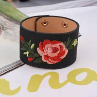 Богема вышивка цветок манжеты Браслет Женский мода широкий кожаный Браслет женщины ювелирные изделия pulseira роковой А0215