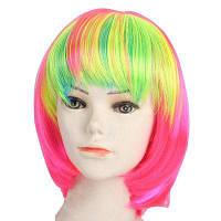 Женская мода Прямой модный короткий Хэллоуин COS Party Dance Hair Wig Разноцветный