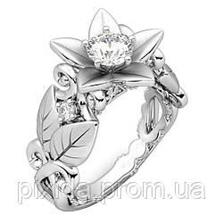 Кольцо Лориэн  покрытие серебром 925 пробы циркон