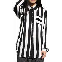 71016 Женская рубашка Zebra Striped с длинным рукавом Turn Down Collar Simple Top XL