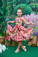 Детское розовое платье  128, 134см бабочки, цвети, пояс-бант атлас шифон