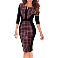 Женщины Ретро Контраст Пэчворк Одежда для работы Бизнес Вестидос Офис Bodycon Молния Sheath Женское платье 2XL