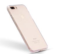 Силиконовый прозрачный чехол с камнями Сваровски для Iphone 7+ 8+