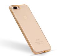 Силиконовый золотой чехол с камнями Сваровски для Iphone 7+ 8+