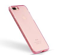 Силиконовый розовый чехол с камнями Сваровски для Iphone 7+ 8+, фото 1