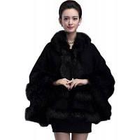 Женщины Poncho Knitwear Женское пальто из натурального меха с капюшоном один размер