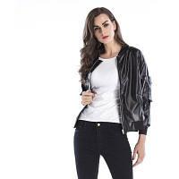 Женская кожаная куртка Твердая длинная рукавная молния Свободная холодная кожаная куртка XL