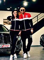 спортивный костюм пара он+она 2-х нить адидас черный с красным 42 44 46
