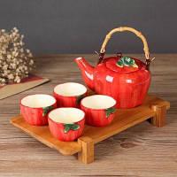 Керамический чайный сервиз в виде фруктов Яблочный цвет