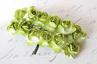 Декоративные бумажные цветочки, розы для скрапбукинга 2,5 см 12 шт/уп. на ножке бело-зеленые, фото 1