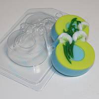 Пластиковая форма для мыла 8 марта подснежники по диагонали