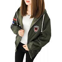 Женская бомбардировочная куртка с длинным рукавом с капюшоном Письменная аппликация Свободная молния XL