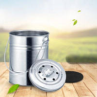 Compost Bin Kitchen Trash Can Outdoor Coutertop Charcoal Filter Bucket Серебристый