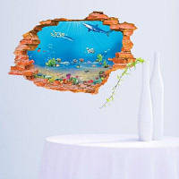 Морской музей Подводный мир через стикер стены 60 х 90 см
