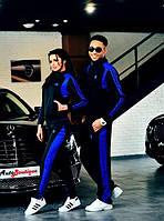 спортивный костюм пара он+она ластик адидас черный с синим 42 44 46
