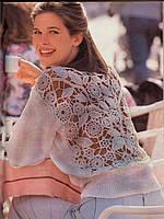 Вязаный женский свитер с элементами ирландского кружева