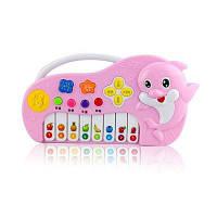 Дети моделирования музыкальный инструмент игрушка мультфильм дельфин электронные фортепиано ключи мини-игрушка электрический свет Розовый