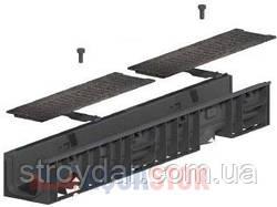 Лоток с чугунной решеткой Normal Plastik DN100 H55 1000x148x70