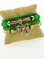 Зеленый браслет из бусин чешского хрусталя