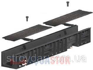 Лоток з чавунною решіткою Normal Plastik DN100 H55 1000x148x120