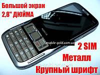 """Мобильный телефон Nokia F009 в металлическом корпусе 2 сим-карты 2,8"""" экран + чехол!"""