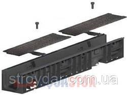 Лоток с чугунной решеткой Normal Plastik DN100 H55 1000x148x180