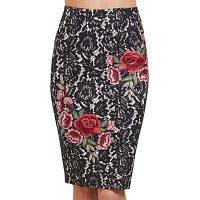 Женская оболочка Цветочная вышивка Цветной блок Юни-кружевная юбка XL