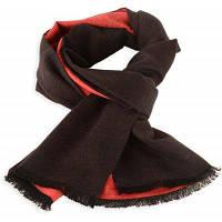 Патч два тона зимний шарф с бахромой черный красный