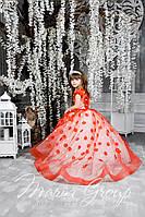 Детское нарядное платье на выпуск в детском саду красное со шлейфом