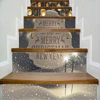 DSU Золотой шарик Фейерверки С Рождеством Христовым Цитаты Лестница Стикер Декор стены LTT085 18см x 100см x 6 шт.