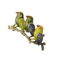 Три цвета Попугай Брошь Рождественские подарки Штыри Корсаж Костюм Ретро животных Броши для женщин Винтаж Птица Разноцветный