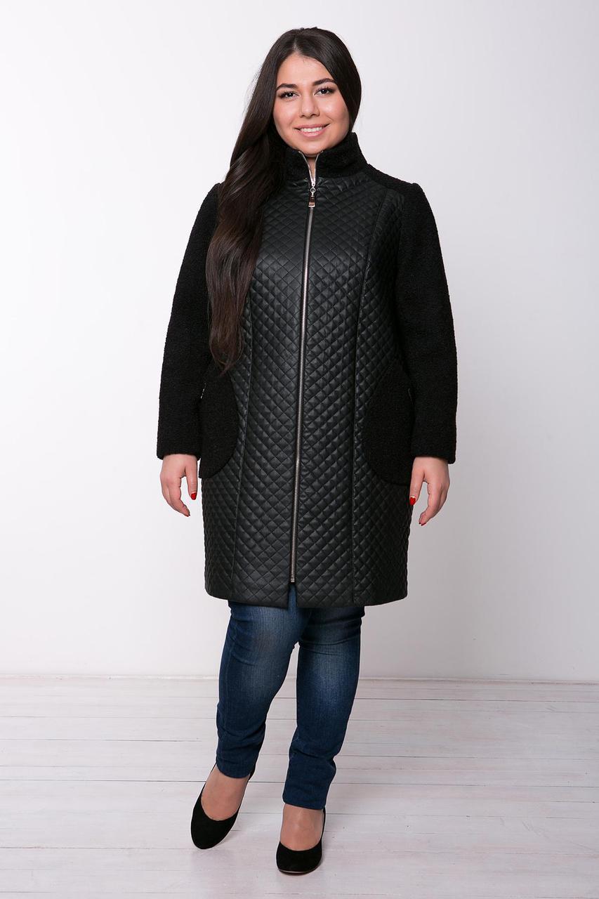 Пальто из стеганой искусственной кожи