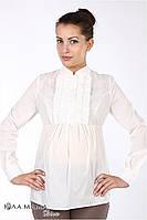 """Изысканная блузка для беременных из меланжевой блузочной ткани """"Michele"""", молочного цвета"""