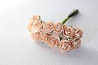Декоративные бумажные цветочки, розы 1,5 см 12 шт/уп. на ножке нежно-персикового цвета, фото 1