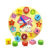 Деревянные строительные блоки Цифровая геометрия Часы Игрушка Дети Обучающие игрушки Дети подарок разноцветный