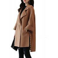 Женская шерстяная пальто с надрезом с длинным рукавом L