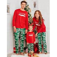 Семейные Рождественские Пижамы С Узором И Длинными Рукавами Папа M