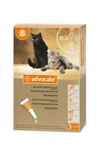 Адвокат для котов до 4 кг от блох и клещей, цена за 1 пипетку