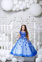 Детское нарядное платье на выпуск в детском саду синее без шлейфа