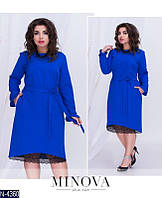 Платье (50,52,54,56) —  костюмка +кружево купить оптом и в розницу в одессе  7км